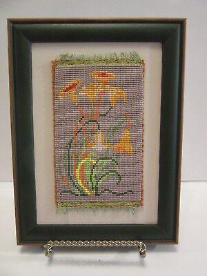 FLOWER ART HAND MADE BEAD MICROMOSAIC FRAMED ORIGINAL YELLOW FLOWERS ARTWORK