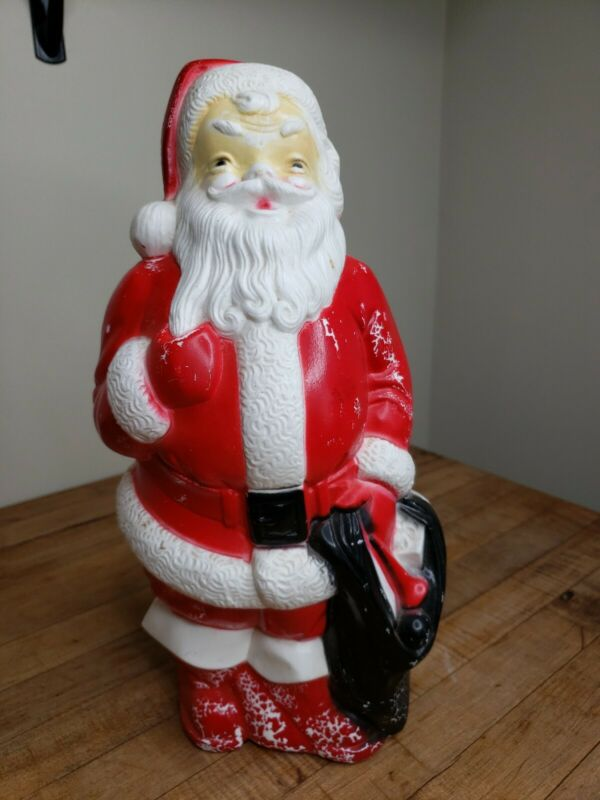 """Vintage Christmas Empire Plastic Corp 1968 13"""" Lighted Santa Claus Blow Mold"""