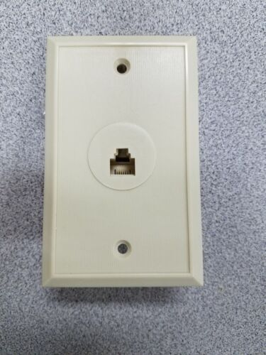 4 Lot , Telephone Flush Wall Plate Ivory 6 Conductor Jack, Free shipping
