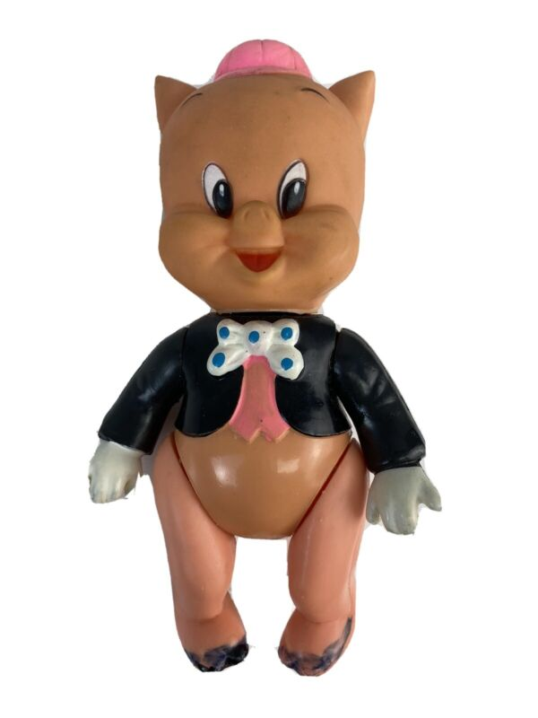 Vintage 1976 Warner Brothers porky pig plastic toy 6 inches size