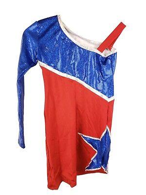 America Star Sheer Dress w/ Red/White/Blue Sequin Dance Costume - Child 12