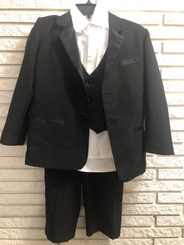 Boys Youth Black Tuxedo 4 Pieces Size 14 Black