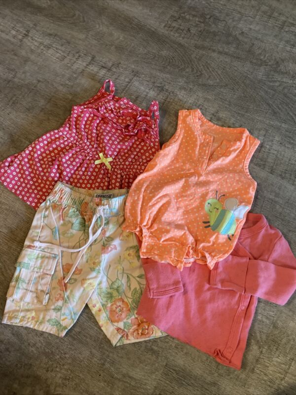 Baby Girl Carters, Osh Kosh 4pc Lot, Size 0-3months, Sooo Adorable!