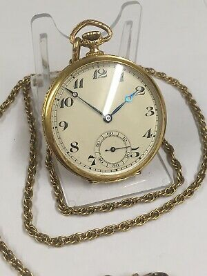 Vintage 9ct Solid Gold Gents Pocket Watch & Watch Chain GWO & VGC LOOK