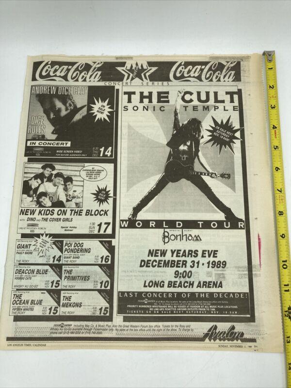 The Cult Original Concert Newspaper Ad 1989 Rare NKOTB