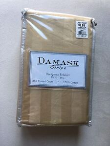 Brand new Damask stripe bedskirt