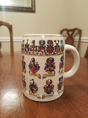 Reutter Porzellan West Germany Ceramic Beer Mug Stein Family Crests