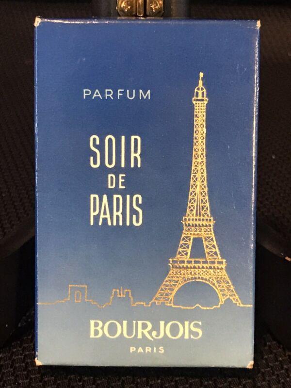 Vintage Soir de Paris Bourjois Cobalt Brass New in Box Miniature Bottle Full