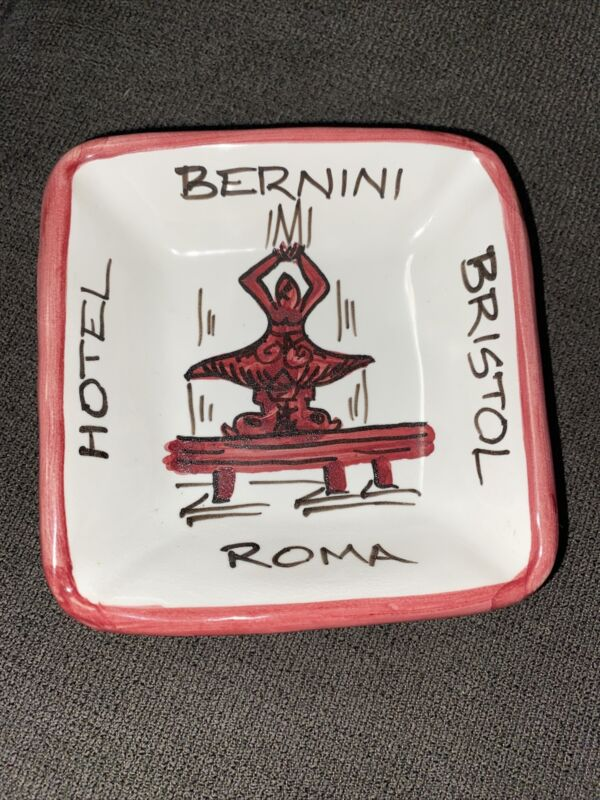 "HOTEL BERNINI BRISTOL ROME VINTAGE CERAMIC ASH TRAY 4""x4"""