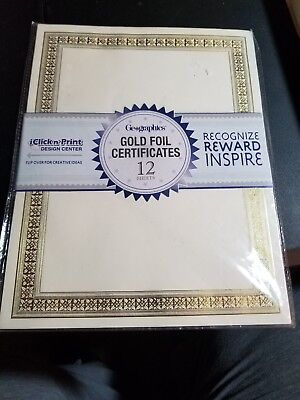 Geographics Foil Enhanced Certificates 8-1/2 x 11 Gold Flourish Border 12/Pack