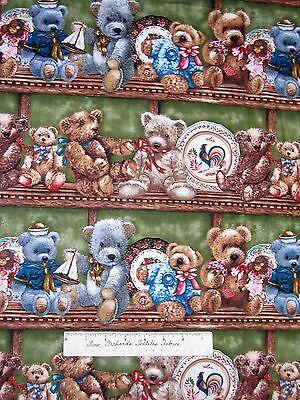 (Nursery Baby Fabric - Teddy Bear Hugs Stripe Green - Spectrix SPX 30