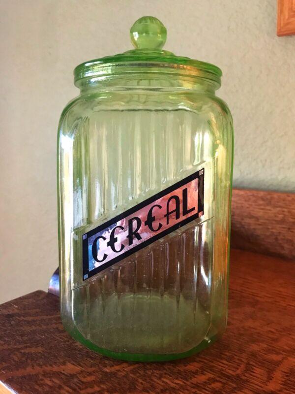 Vintage green Depression glass ribbed canister jar (new label)