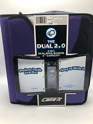 Case It Zipper Binder The Dual Purple 2 Two Inch D Ring Binders With Pockets New