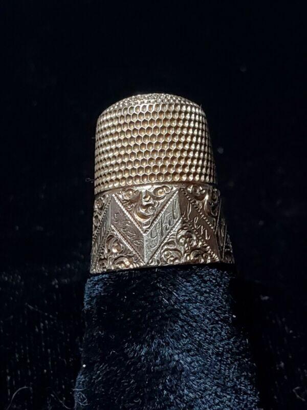 "Antique Solid 14K Gold, Size 9 Thimble, Circa 1900""s."