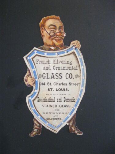 Victorian Trade Card INTERESTING Die Cut Red Head Man Sheild French Silver 50