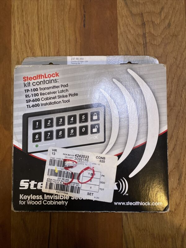 Stealthlock Keyless Invisible Security for Wood Cabinetry (Open Box, Never Used)