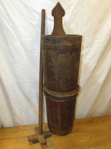 Antique 1883 Wood Staved Butter Churn Original Paint Vintage 19thC Primitive