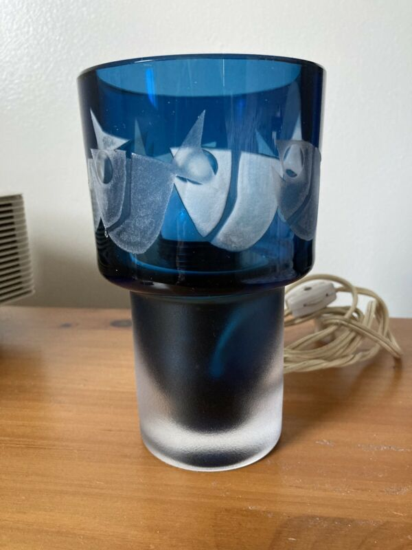 Kosta Boda Ove Sandeberg Blue Glass Fish Lamp Sweden Mid Century Modern MCM
