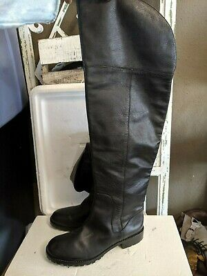 Marc By Marc Jacobs Black Leather flat riding Over The Knee Boots Size 39/8