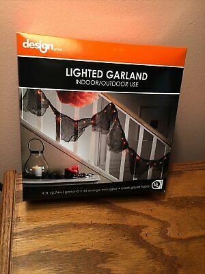 NEW Halloween Lighted Garland - Orange Mini Lights on Black Gauze Fabric 9 Ft.