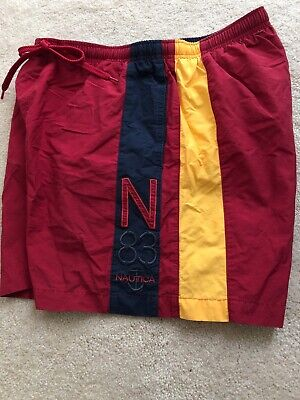 Vintage Nautica Mens Size Medium Red/Yellow/Blue Embroidered N 83 Swim Trunks
