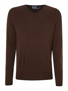 Mens-Ralph-Lauren-V-Neck-Knitted-Italian-Yarn-Lambs-Wool-Jumper-Pull-Over