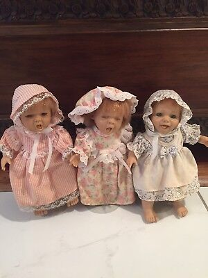 """Lot Of 3 Berenguer Expressions Dolls 8 1/2"""" Clothed On Removable Stands"""