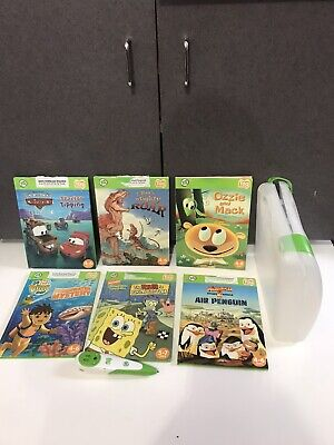 Leapfrog Tag Reading System Pen + clear Case lot books Dinosaur spongebob for sale  Shipping to India