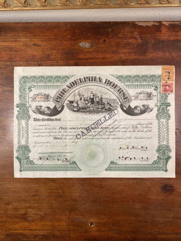 1930 Philadelphia Bourse Stock Certificate