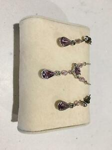 Silver and Amethyst Necklace and Earring Set Seaham Port Stephens Area Preview