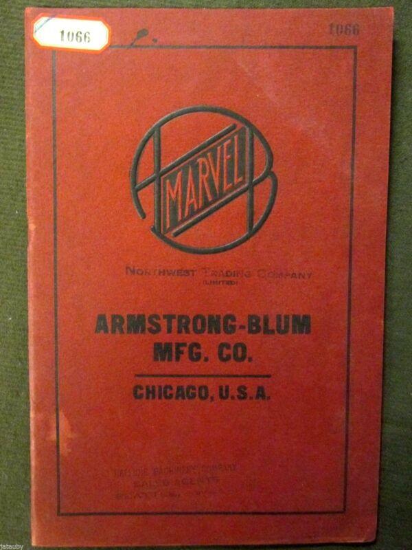 Vintage MARVEL NORTHWEST TRADING CO. ARMSTRONG BLUM TOOL CATALOG CHICAGO antique