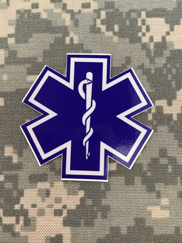 """Star Of Life 3"""" Blue And Silver Reflective Helmet Decal Sticker New JJ-3"""