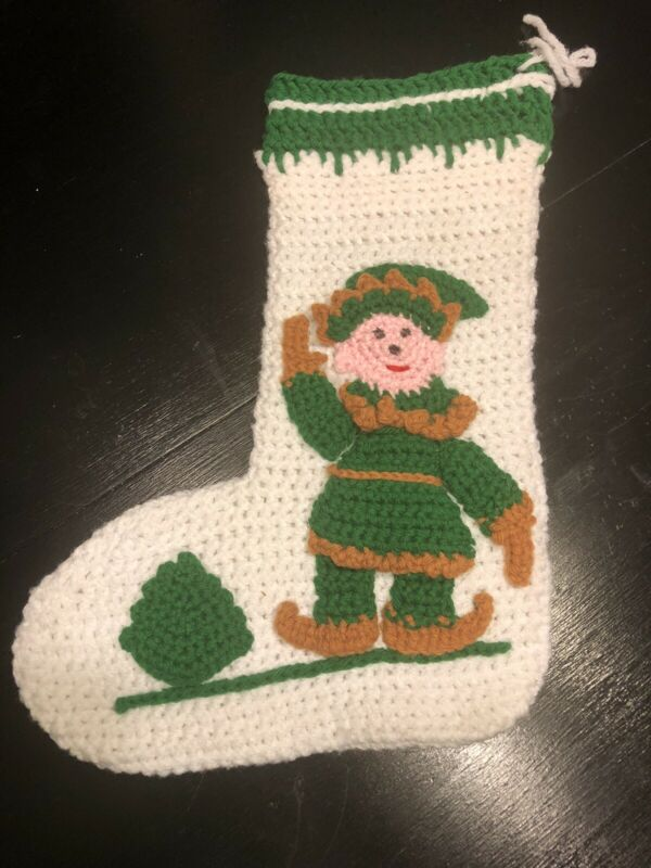 Vintage Crochet 3D Elf Christmas Stocking Handmade