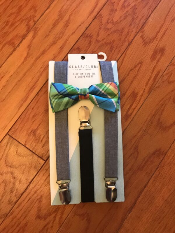 THE CLASS CLUB Clip-On Bow Tie & Suspenders, Plaid & Blue NWT $26 E2