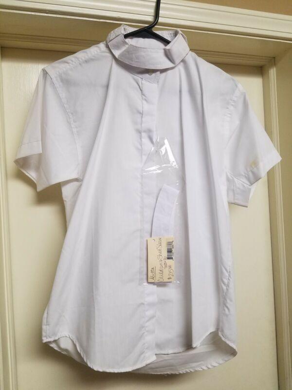 $25 NWT Abetta Girls 16R Short sleeve Show Shirt white english hunter pony 4H