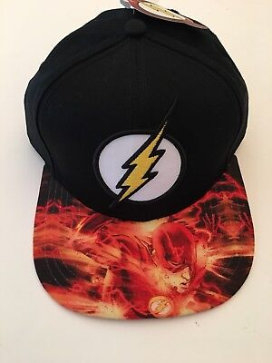 DC The Flash Snapback Baseball Cap Hat One Size Graphic On Bill Adjustable - Flash Hat
