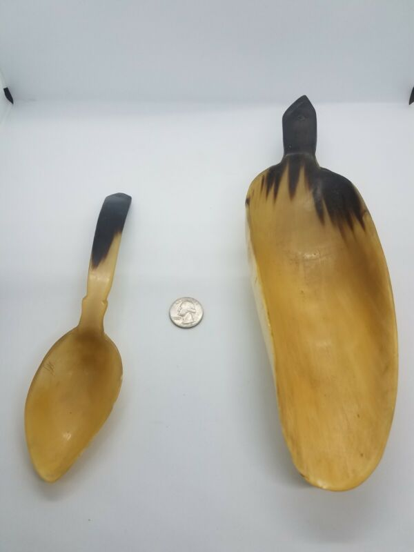 Antique Native American Indian Plains Sioux Cow Horn Scoop & Spoon