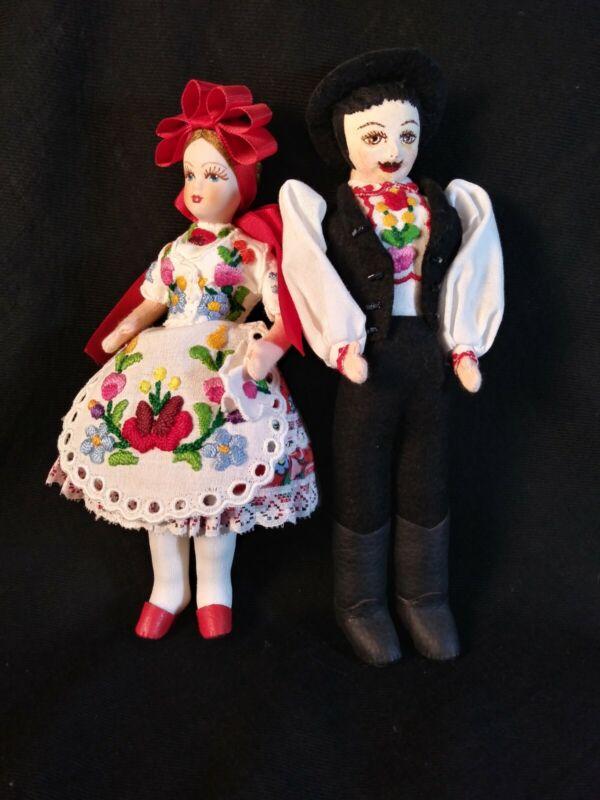 Vintage Cloth Czech? Ethnic Handmade Dolls Embrodried Costume