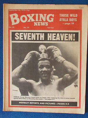 Boxing News Magazine   28 9 79   Maurice Hope Cover