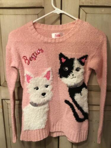 Justice Girls Pink Sweater Besties Sequin Dog & Cat Size 8