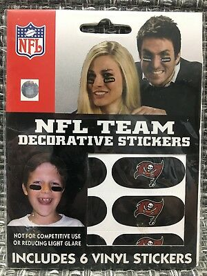 Tamp Bay Buccaneers NFL 6 Pack Eye Black Strips Vinyl Face Decorations Stickers
