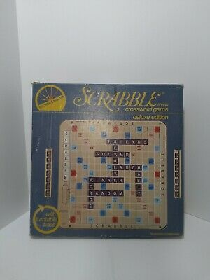 Vintage 1977 Scrabble Deluxe Turntable Edition Crossword Game in Original Box