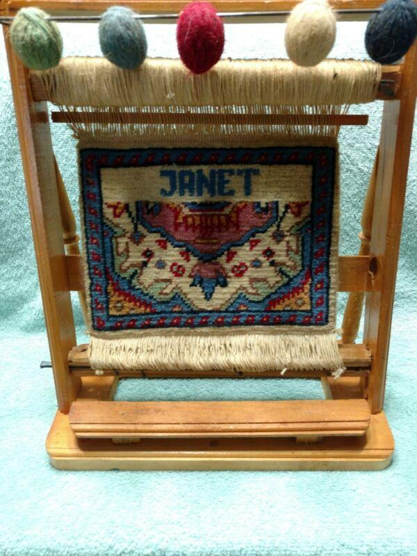 Vintage Wooden Rug Making Loom Display Persian Carpet JANET