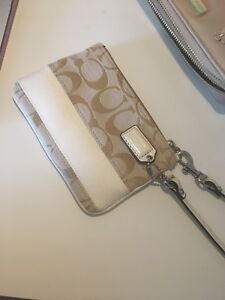 **AUTHENTIC** Beige and White Coach Wristlet