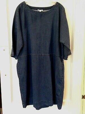 Eileen Fisher blue denim dress tunic top L tencel organic cotton boxy loose fit