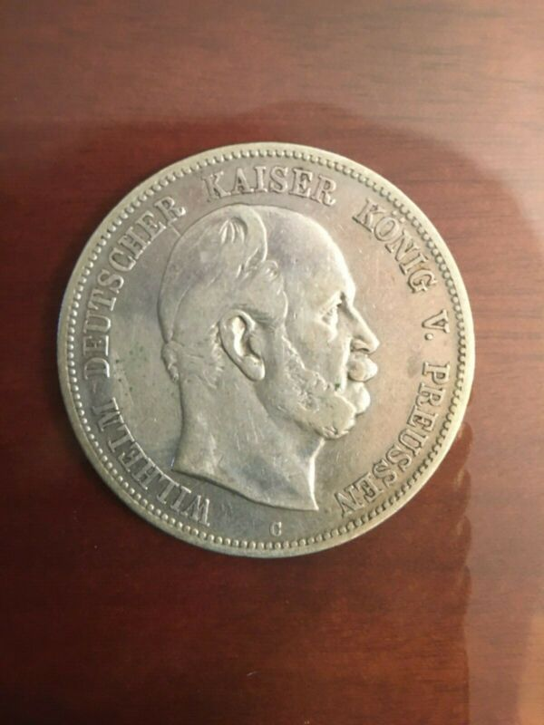 Germany 1876 C five mark silver coin