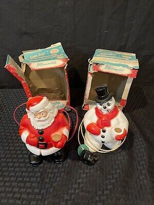 2 Vintage ROYALITE ? JOLLY Christmas CHARACTERS Light Up SANTA CLAUS SNOWMAN