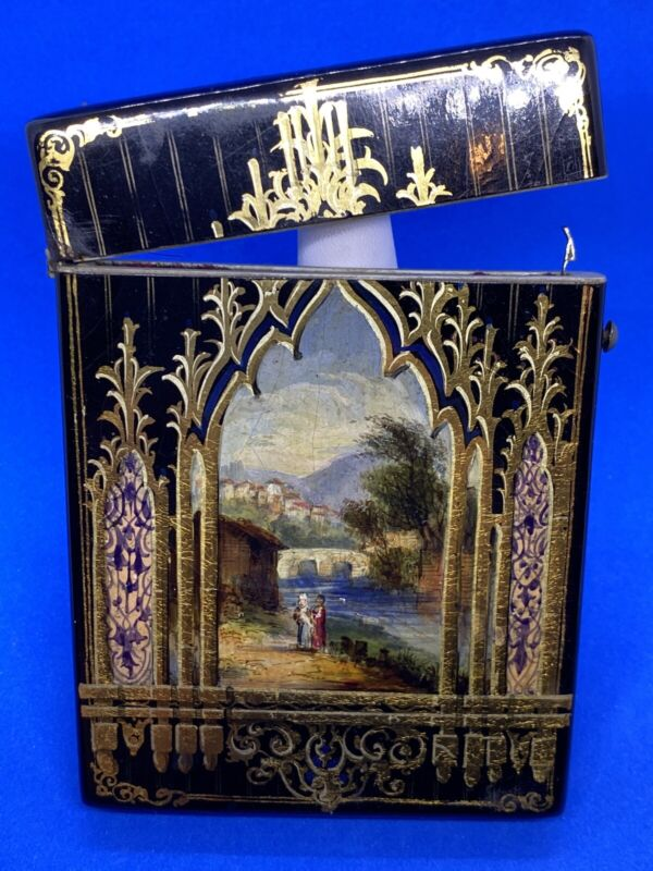 Antique Black Lacquer Hand Painted Mountain Scene Card Case or Box