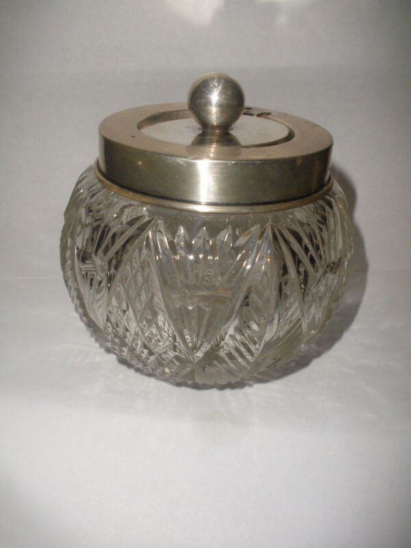 Great antique vintage sterling silver  moveable ball cover lid crystal  cut jar