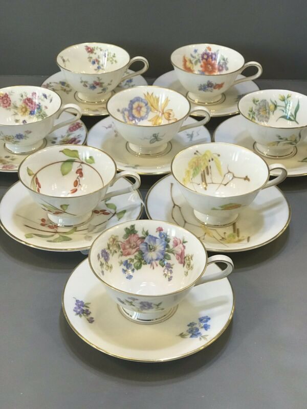 8 Antique Floral Footed CUPS & SAUCERS Villeroy Bach HEINRICH BAVARIA PORCELAIN